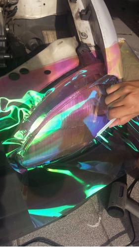 película adesivo camaleão p/ lanterna e farol 1 mt x 0,30 cm