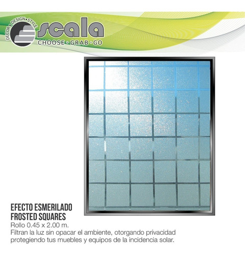 película autoadhesiva frosted squares 45 x 200