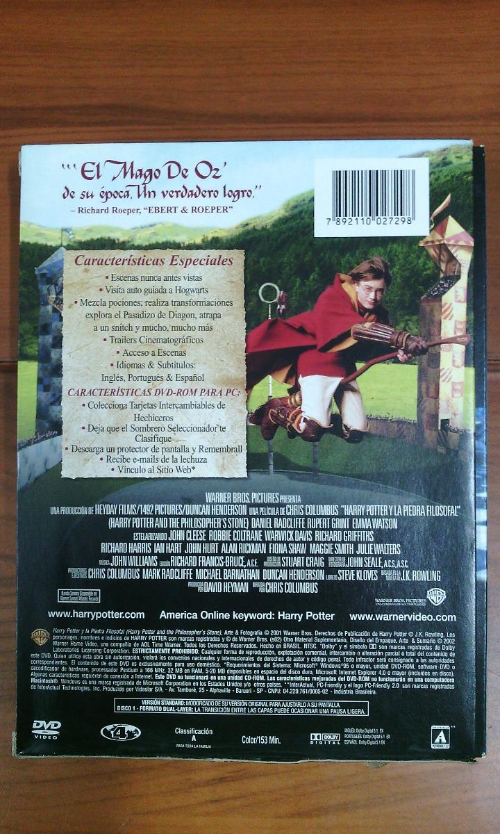 Película Dvd Harry Potter Y La Piedra Filosofal 2 Discos Bs 2000000