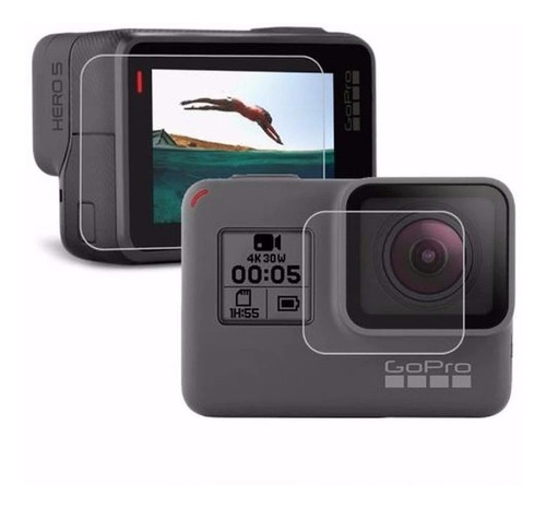 película lente e lcd gopro go pro hero 5 6 7 black proteção