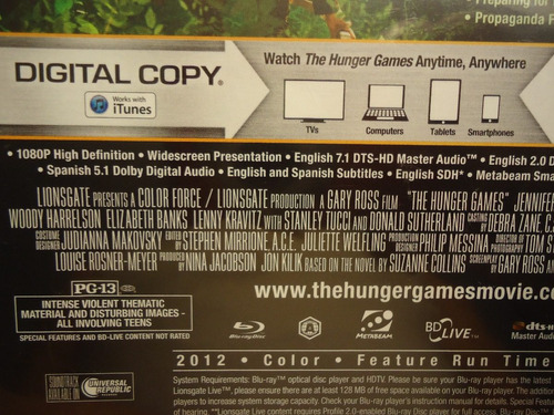 pelicula the hunger games (blu-ray) (w) (widescreen)