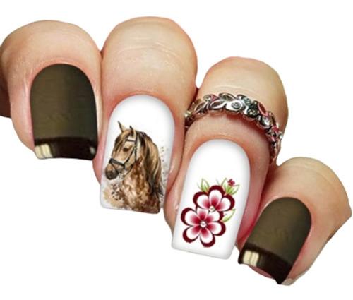 pelicula unha/adesivos unhas cavalo flor delicada ct03