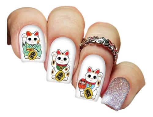 pelicula unha/adesivos unhas gatinho japonês da sorte an09