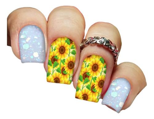 pelicula unha/adesivos unhas girassóis sunflowers fa58