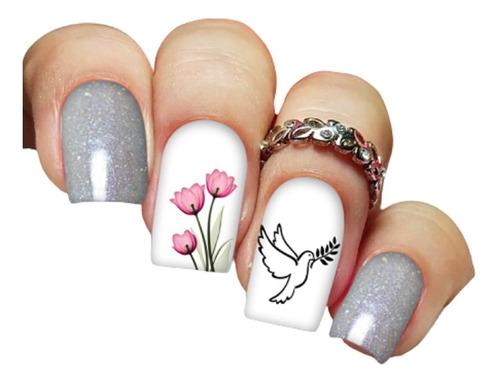 pelicula unha/adesivos unhas pombinha branca tulipa rg15