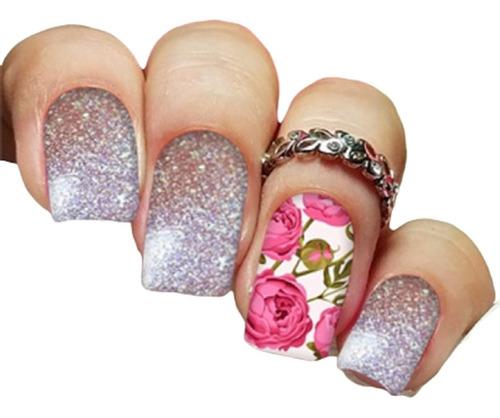pelicula unha/adesivos unhas ratinha floral colorido pe15