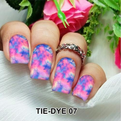 pelicula unha/adesivos unhas tie-dye rosa e azul mancha td07