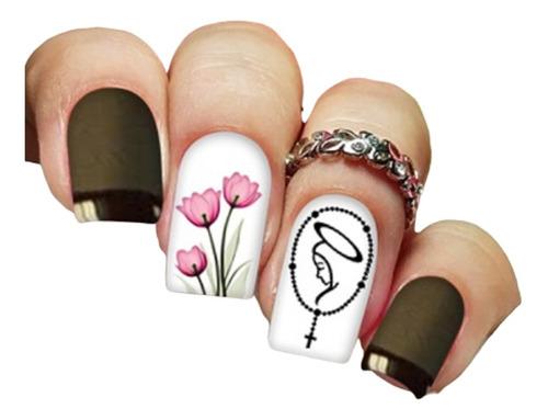 pelicula unha/adesivos unhas tulipas nossa senhora rg06