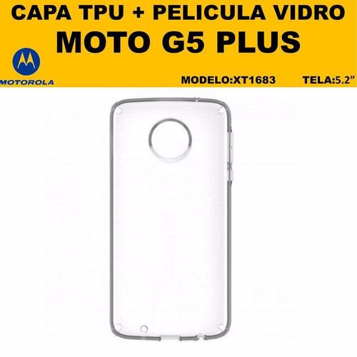 película vidro + capa anti-impacto moto g5 plus xt1683 5.2