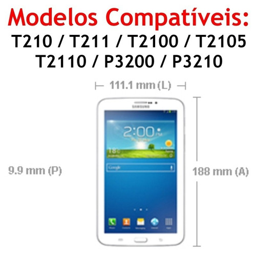 película vidro tablet samsung galaxy tab3 7 t211 t2100 p3200