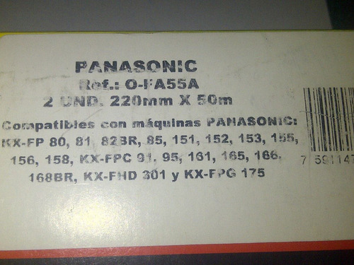 películas para fax panasonic 2 und.220.mm.x 50m