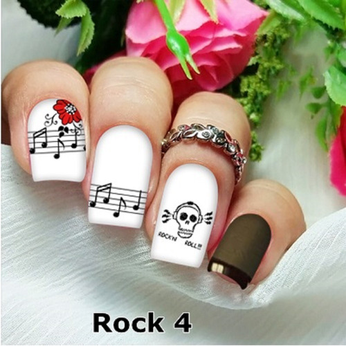 peliculas/adesivos unhas caveira rock flor musical rk4