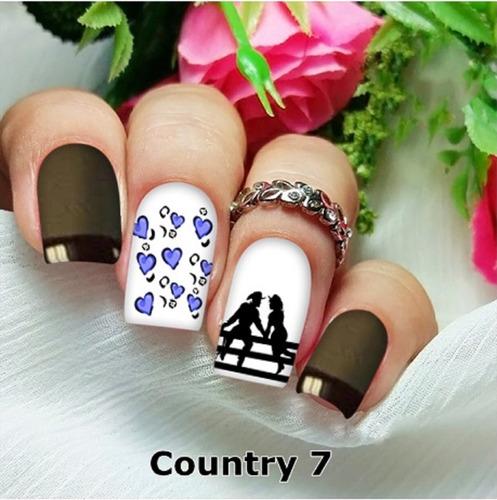 peliculas/adesivos unhas country cowboy cowgirl ct7