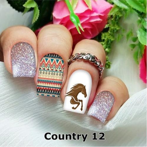peliculas/adesivos unhas country indigena cavalo ct12