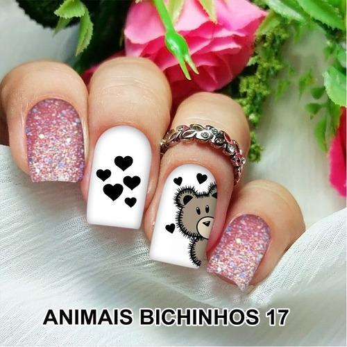 peliculas/adesivos unhas girassóis animal print fa57
