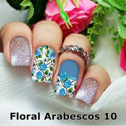peliculas/adesivos unhas oncinha bege florzinha ap9