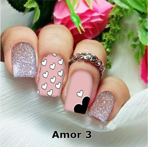 peliculas/adesivos unhas ratinha floral rosa pe7
