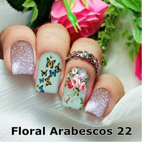 peliculas/adesivos unhas roseiral borboletas azul fa22