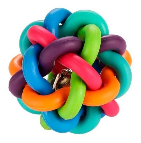 pelota arco iris trenzada pequeña cascabel juguete gatos