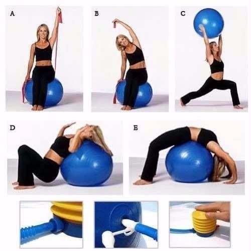 pelota pilates/gimnasio/terapéuticas 65cm + inflador