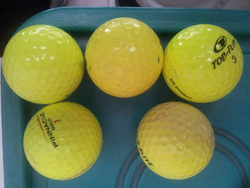 pelotas de golf usadas 5 x 100. amarillo flourescente