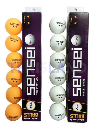 pelotas de ping pong sensei 2 estrellas x6  alto rendimiento