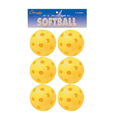 pelotas de wiffleball softball set de 6 champion sports usa