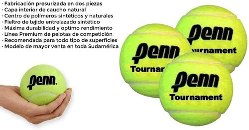 pelotas penn tournament sello negro x 100 unidades - olivos