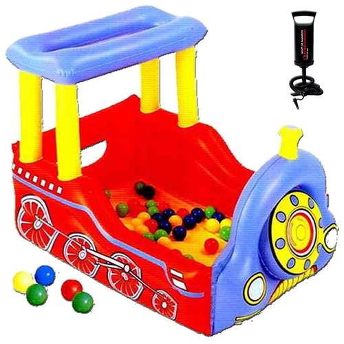 pelotero corralito inflable tren con 50 pelotas + inflador!!