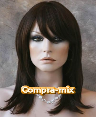 peluca cabello humano 100 color castaño oscuro vv4