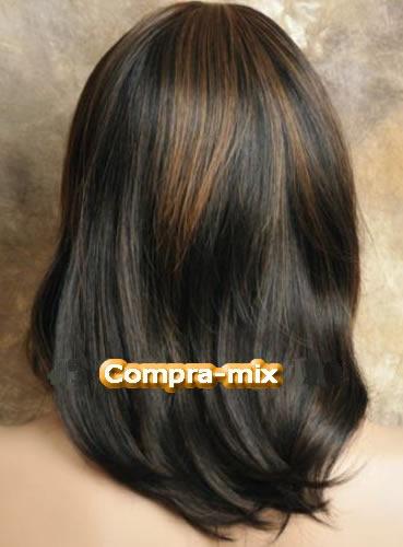 peluca cabello humano castaño oscuro y destellos dorados,lbf