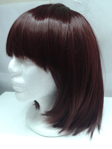 peluca caoba carre quimioterapia disfraz lavable importada