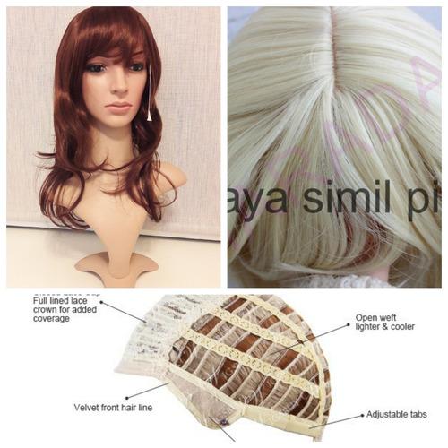 peluca con raya simil piel negro/cast/rub/plat/caoba