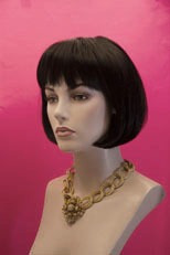 peluca  corta 100% pelo natural castaño oscuro