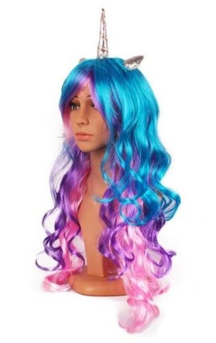 peluca cosplay unicornio celestia  fantasía disfraz envío gr
