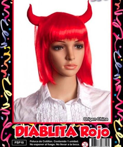 peluca diablita rojo - fiesta & eventos la golosineria