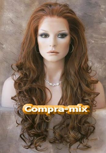 peluca extra larga color castaño cobrizo, pm0