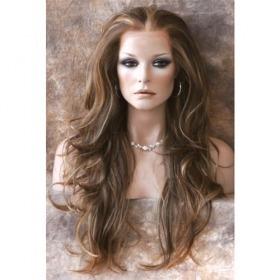 peluca extra larga color castaño con destellos, vbf