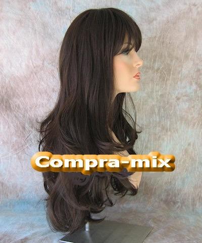 peluca extra larga color castaño oscuro , rgl