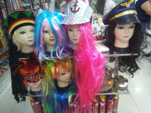 peluca halloween larga color cabello pelo fantasía sintético
