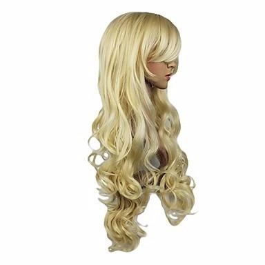 peluca larga bucles rubio muy natural
