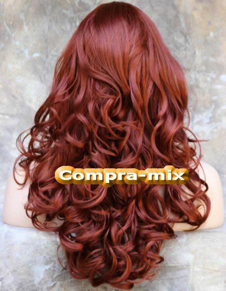 peluca larga color rojizo ondulada bfn 3 299 00 en mercado libre
