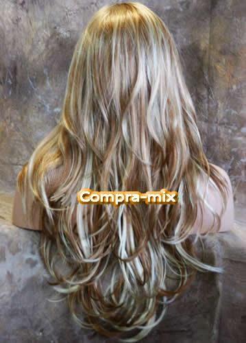 peluca  larga color rubia destellos platinados y dorados,lbf