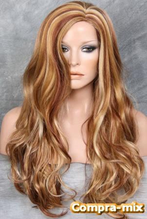 peluca larga color rubia dorado con listones plata op4