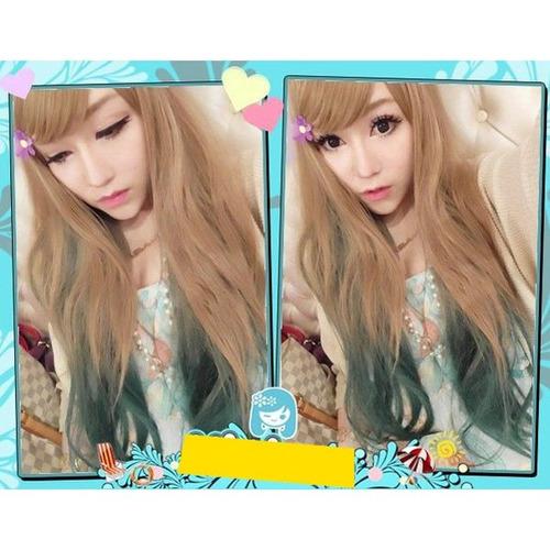 peluca larga gradiente de color verde oscuro cabello pelucas