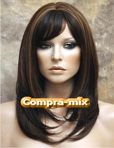 peluca mediana cabello humano 100% color castaño oscuro,lbf