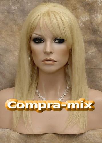 peluca mediana cabello humano 100% color rubio, lbf