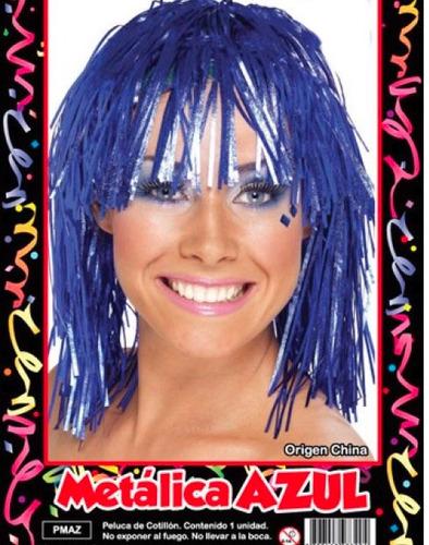peluca metalizada azul - hoy muy barata la golosineria