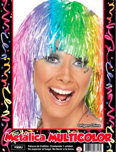 peluca metalizada multicolor - hoy muy barata la golosineria