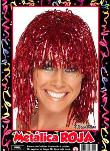 peluca metalizada roja - hoy muy barata la golosineria